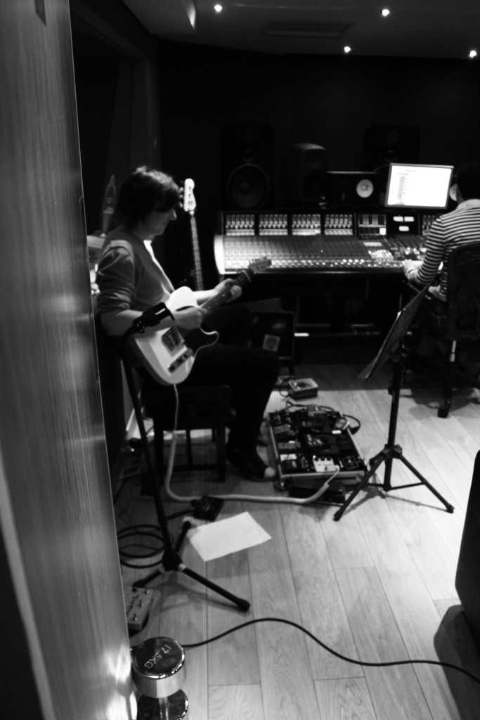 Andy recording Guitar Parts on BeX Debut EP at Modern World Studios...